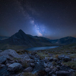 Night sky over Tryfan in Snowdonia